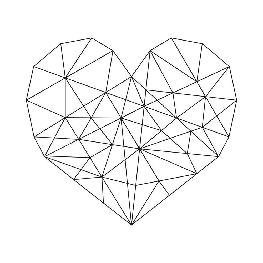 Herz, das aussieht wie aus dünnem Draht gezeichnet
